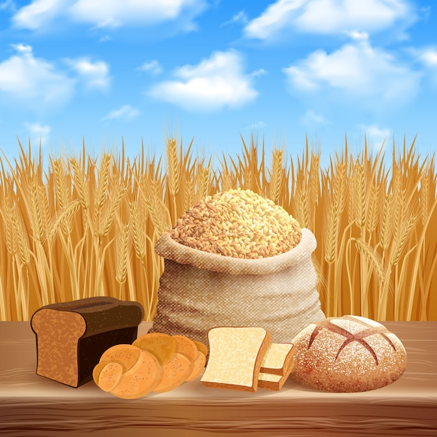 Bread assortment with careal and crops  illustration Free Vector