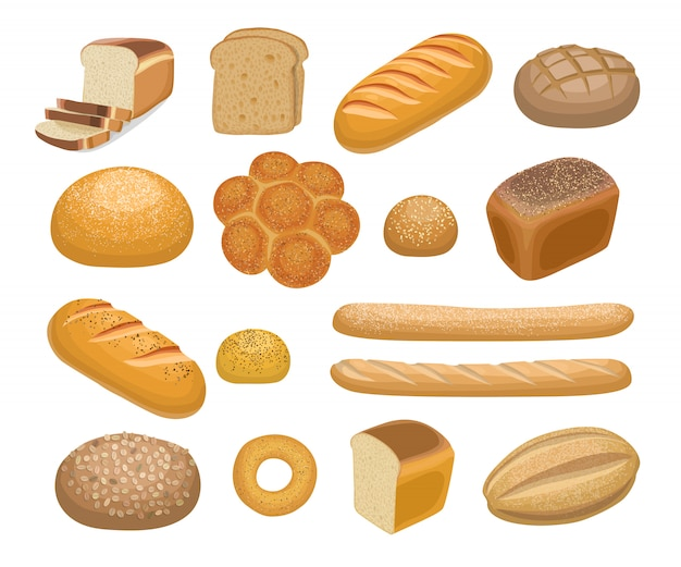 Bread, bakery products Premium Vector