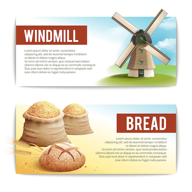 Bread banner set Free Vector