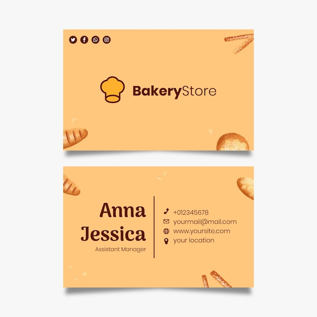 Bread business card template Premium Vector