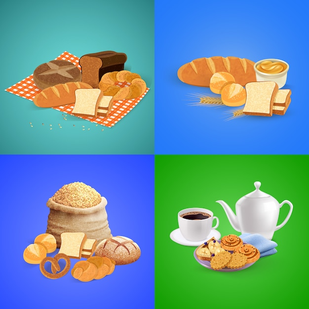 Bread composition set with breakfast and lunch elements Free Vector