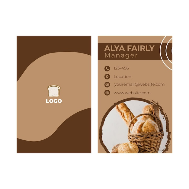 Bread double-sided businesscard vertical Free Vector