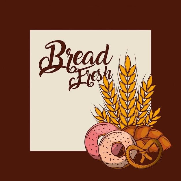 Bread fresh donuts pretzel whole wheat bakery poster Premium Vector