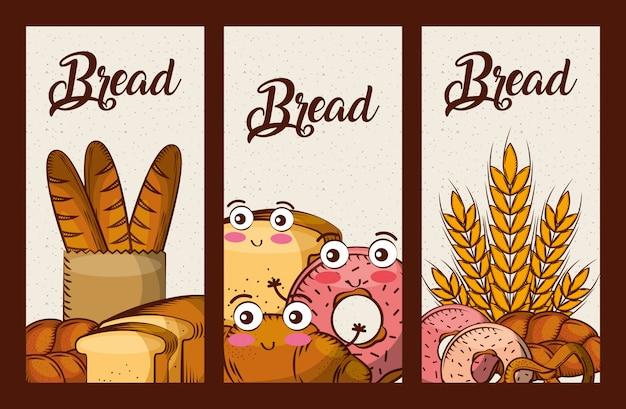 Bread fresh set cartoon kawaii food banners Premium Vector