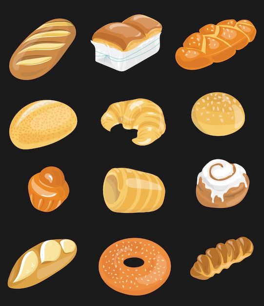 Bread icons set for bakery shop. collection of baking. flour products for the market. Premium Vector