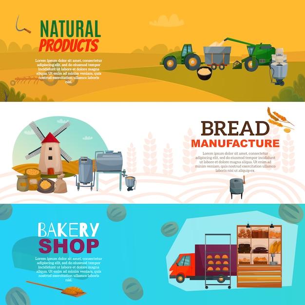 Производство хлеба горизонтальные баннеры Бесплатные векторы