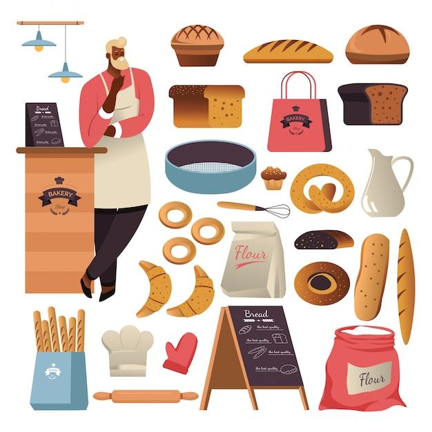 Хлеб или кондитерские изделия, булочная Premium векторы