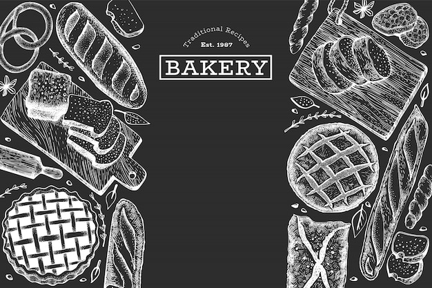 Bread and pastry background. vector bakery hand drawn illustration on chalk board. Premium Vector