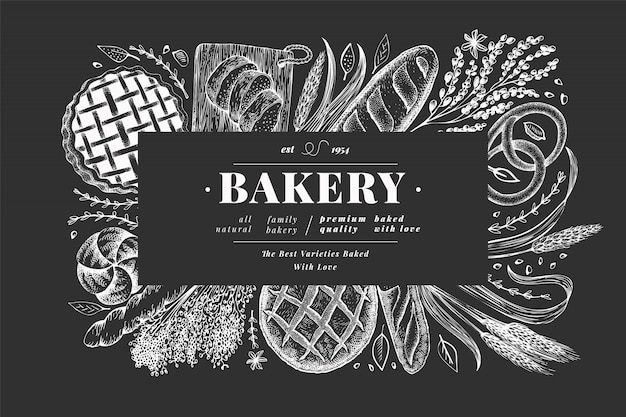 Bread and pastry banner. bakery hand drawn illustration on chalk board. Premium Vector