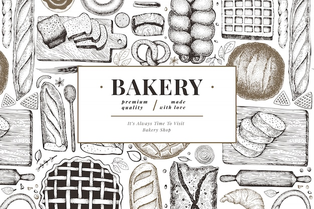 Bread and pastry banner. Premium Vector