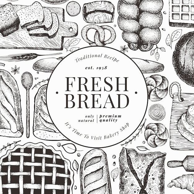Bread and pastry flyer Premium Vector