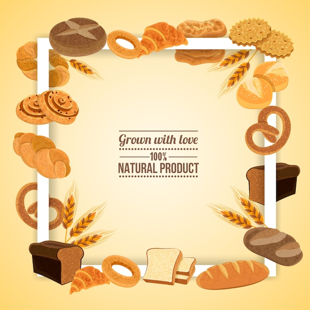 Bread and pastry frame with natural product Free Vector