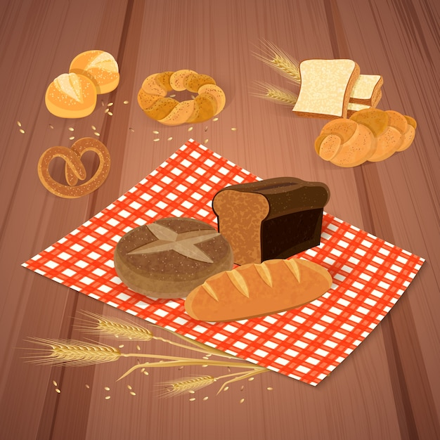 Bread products with meal and fresh food illustration Free Vector