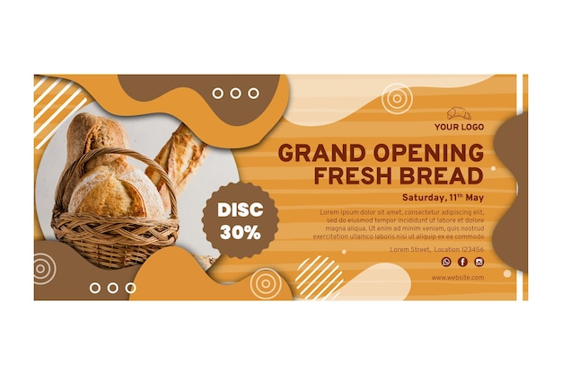 Bread sale banner template Free Vector