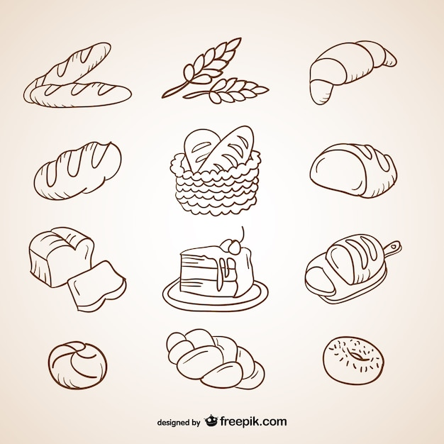 Bread scribbles collection Free Vector