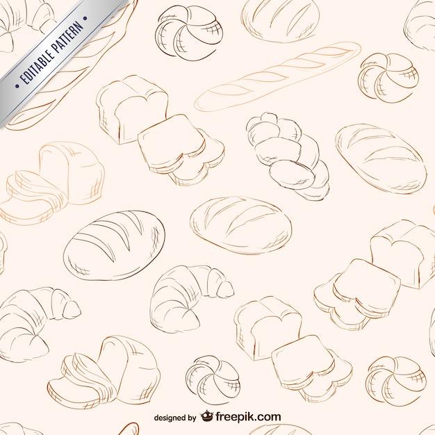 Bread scribbles pattern Free Vector