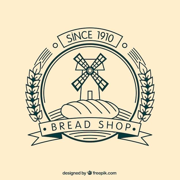 Bread shop badge Free Vector