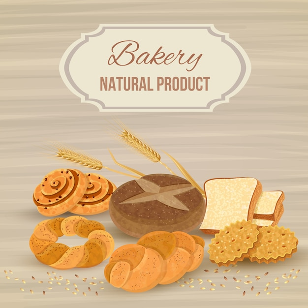 Bread template with bakery natural product Free Vector