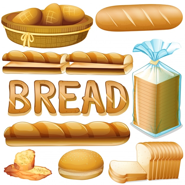 Bread in various kinds illustration Free Vector