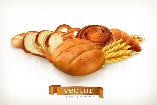 Bread, vector illustration isolated Premium Vector