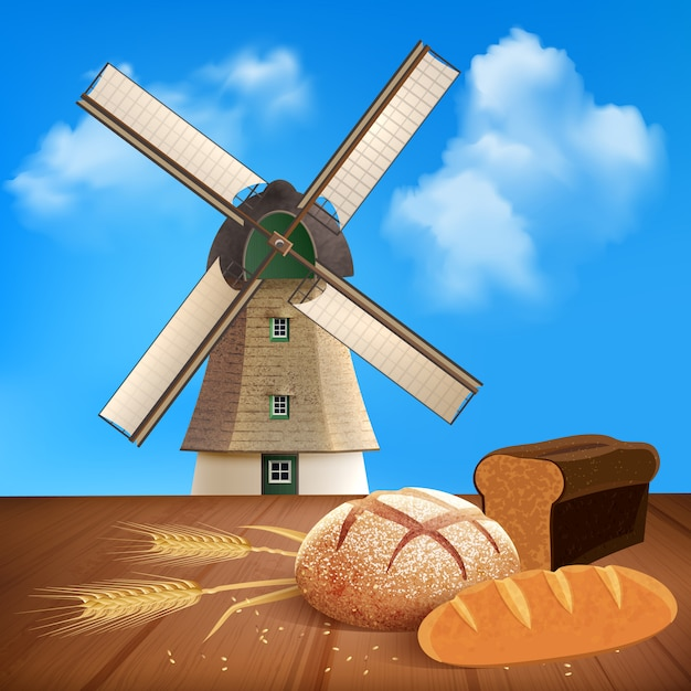 Bread and wheat with natural product and mill illustration Free Vector