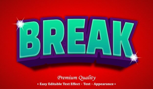 Break 3d editable text style effect Premium Vector