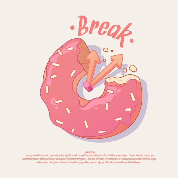 Перемена. идея иллюстрации и плаката для кафе или офиса с пончиком. Premium векторы