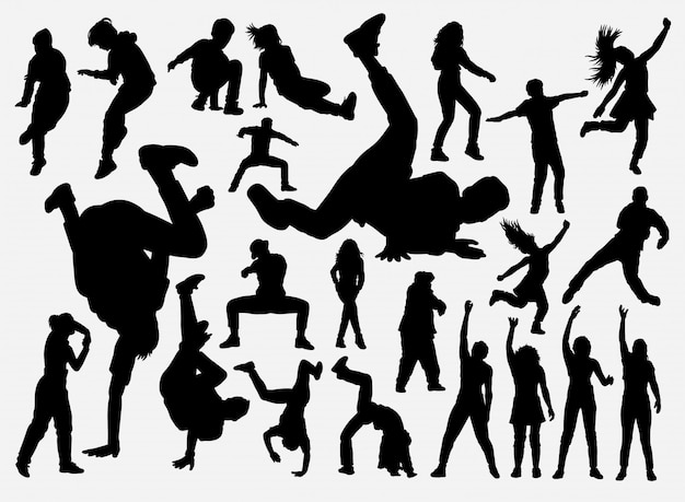 Breakdance and hiphop training silhouette Premium Vector