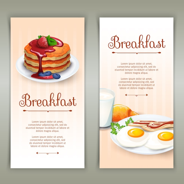 Breakfast 2 vertical banners set Free Vector