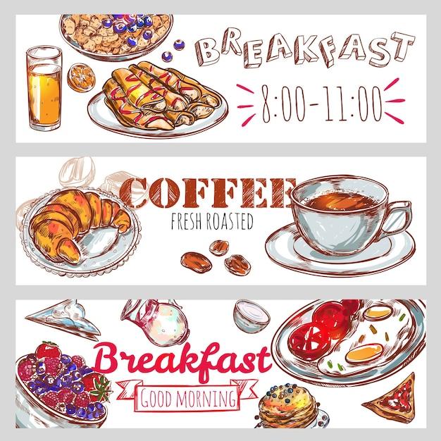 Набор баннеров для завтрака Бесплатные векторы