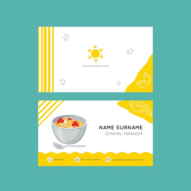 Breakfast business card template Free Vector