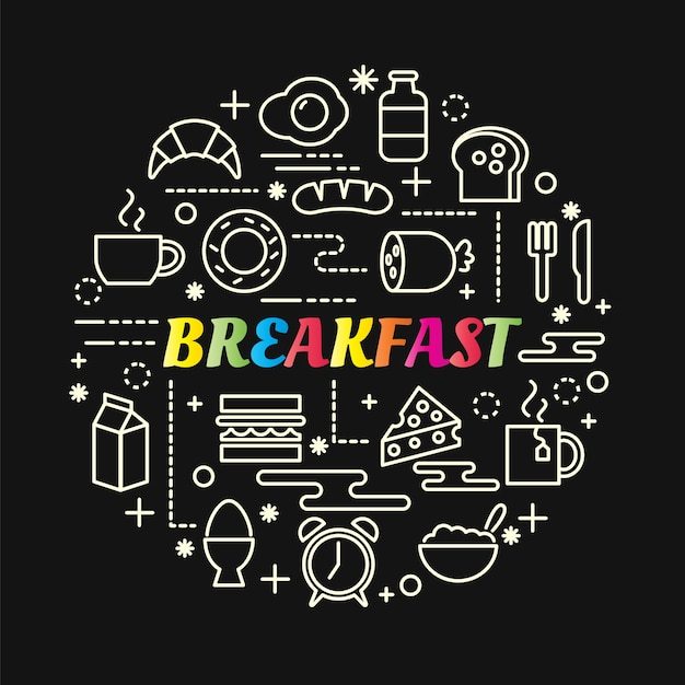 Breakfast colorful gradient with line icons set Premium Vector