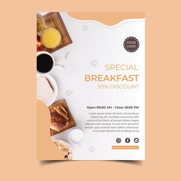 Завтрак концептуальный плакат Бесплатные векторы
