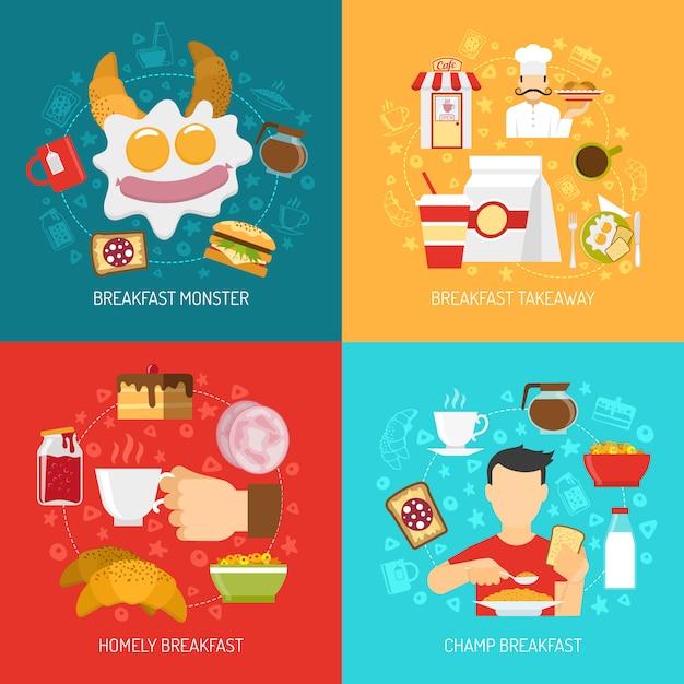 Завтрак концепция векторное изображение Бесплатные векторы