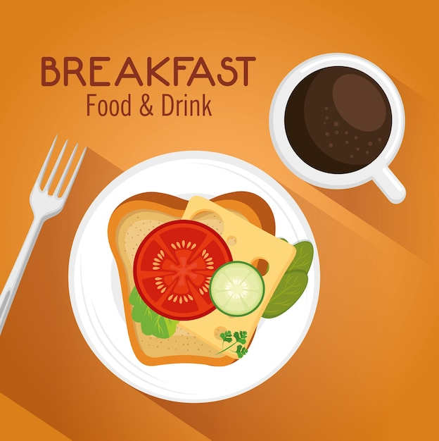 食事と飲み物のある朝食コンセプト Premiumベクター