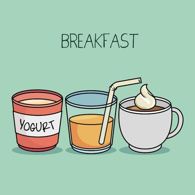 Breakfast concept yogurt juice coffee Free Vector