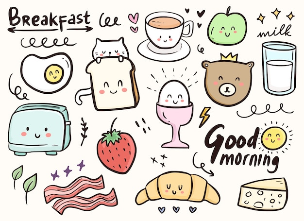Breakfast cute doodle ornament with cat and food illustrationbreakfast cute doodle ornament with cat and food illustration Premium Vector