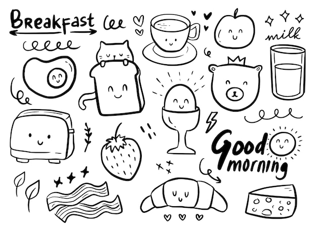 Breakfast cute doodle ornament with cat Premium Vector