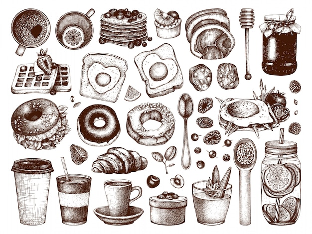 Breakfast dishes  collection. morning food hand drawn illustrations. breakfast and brunches menu  elements set. vintage hand drawn food and drinks sketches. Premium Vector