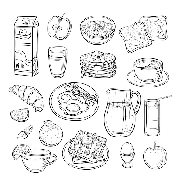 Breakfast doodle. sandwich bread toast egg butter, morning coffee and cheese sketch healthy food vintage vector set Premium Vector
