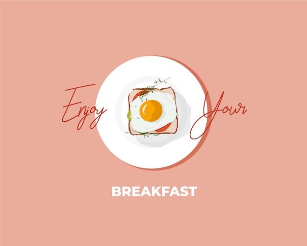 Breakfast egg sandwich illustration Premium Vector