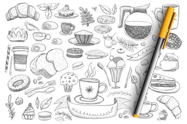 Breakfast essentials and food doodle set. collection of hand drawn teapot, coffee, cake, bread, donut, sweets, desserts, hot drinks and cutlery isolated Premium Vector