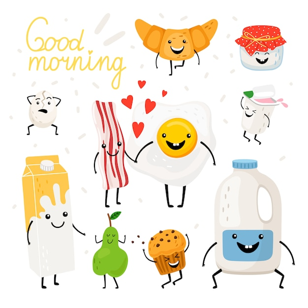 Breakfast food characters set Premium Vector