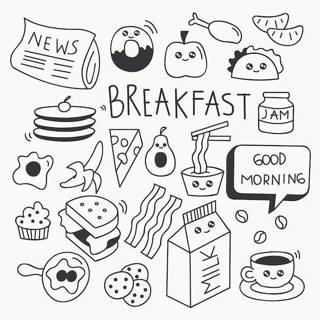 Breakfast food doodle set vector illustration Premium Vector