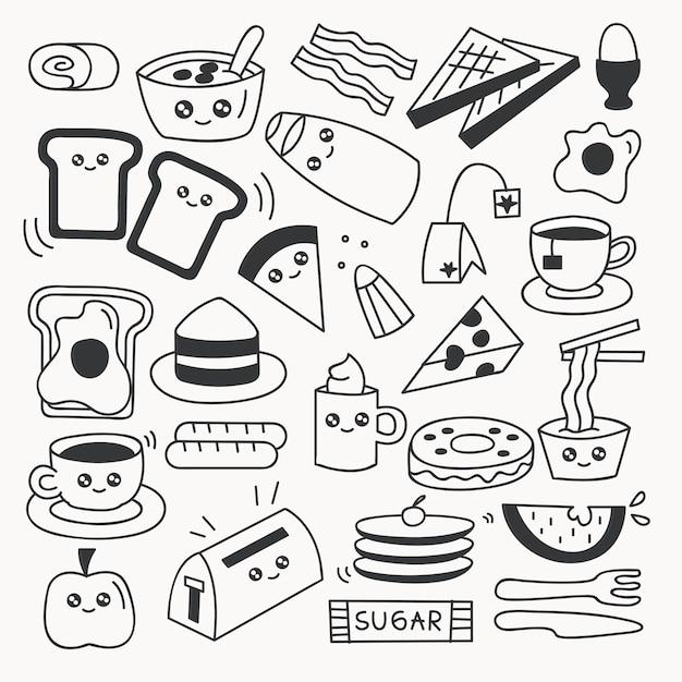 Набор продуктов питания набор векторных иллюстраций Premium векторы