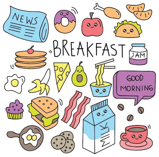 Breakfast food doodle set vector illustration Premium Vector