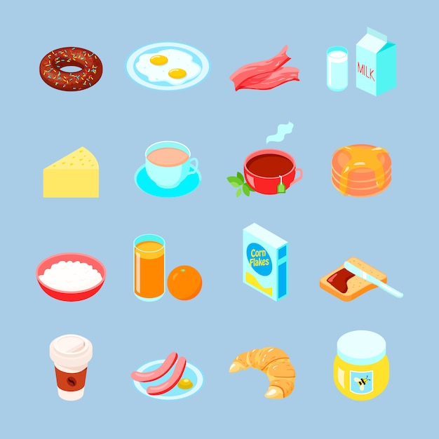 Breakfast food and drinks colorful flat icon set with coffee tea eggs Free Vector