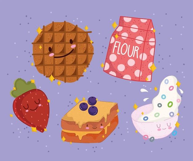 朝食用食品新鮮な漫画かわいいビスケットイチゴサンドイッチミルクシリアル Premiumベクター