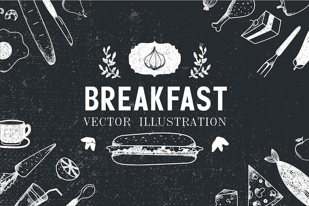 Завтрак, еда рисованной иллюстрации, баннер, обложка меню, плакат. черное и белое Premium векторы
