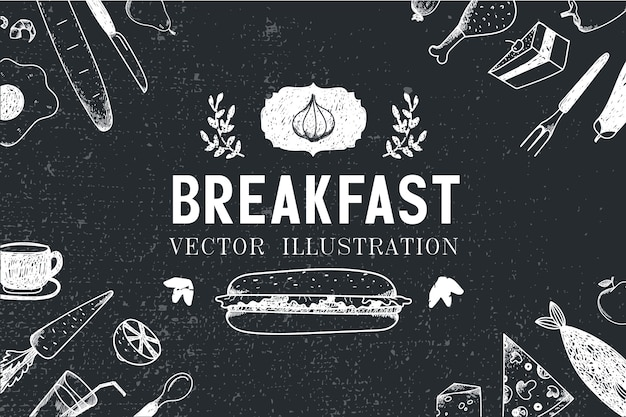 Breakfast, food hand drawn illustration, banner, menu cover, poster. black and white Premium Vector